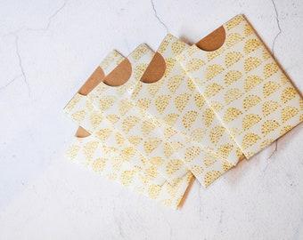 Gold Glitter Notecards {3w cards} 3x2in Gift Cards | Embossed Cards | Pocket Envelopes | Gold Glitter Cards | Pattern Envelopes