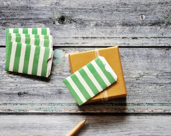 Green Stripe Notecards {3w cards} 3x2in Gift Cards | Embossed Cards | Festive Pocket Envelopes | Green Stripe Cards | Pattern Envelopes