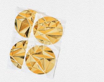 Shiny Gold Foil Seals {24x 45mm} Embossed Gem Texture | Gold Stickers Seals | Wedding Seals | Gold Envelope Seals | Christmas Seals
