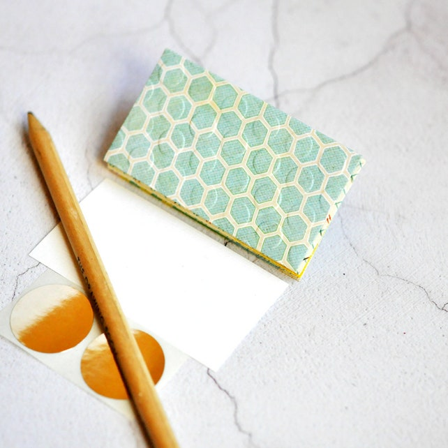 Mini Envelopes {5 w cards + seals} Mixed Mint | Embossed Mini Envelopes | Mini Notesets | Green Blue | Thanksgiving | Gift under 10