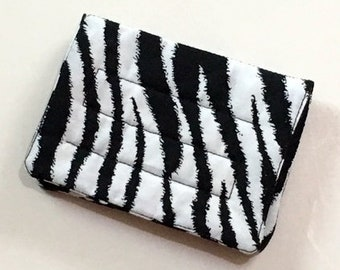 Mini Wallet - Zebra - (with Credit Card slots and zipper Coin pocket)