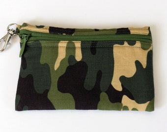 Clip Coin Purse - Camo - with Zipper Front