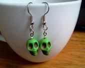 Green Sugar Skull Earrings Howlite