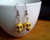 Skull Earrings Yellow Sugar Skull Earrings Howlite