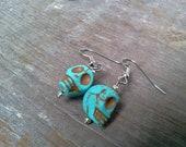 Turquoise Sugar Skull Earrings Howlite