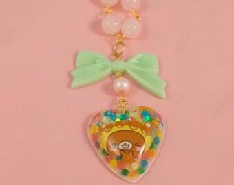 Candy Rainbow Teddy Bear Sprinkles Resin Heart Bow Beaded Necklace