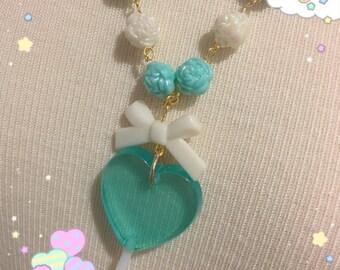 Blue Heart Lollipop Beaded Heart Bow Necklace
