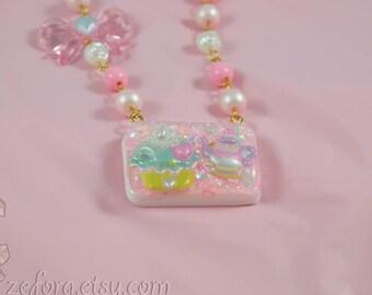 Kawaii Pastel Teacup And Cupcake Resin Beaded Necklace