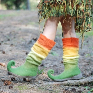 Festival Ren faire costume shoes Purple fairy shoes curly toes boots woodland fairy costume  Custom colors