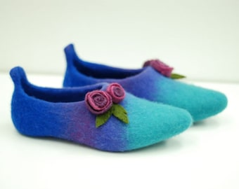 Ready to ship- size 39 US8.5 blue/ purple/ teal  felted slippers  last minute gift