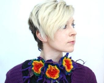Rainbow necklace unique neckpiece with felted flowers/ pick your favorite color