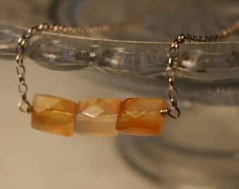 Triple carnelian bar necklace