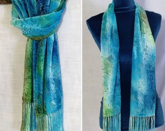 Hand Painted Silk and Rayon Wrap Devore Fringed Jacket SilkRayon Kimono Colors of the Sea--Green Blue-Purple