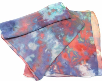 Ice Dyed Silk Chiffon Scarf Red Purple Blue Hand Dyed  14x72 Chiffon Joyful Caravan Xlarge2