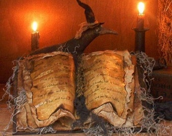 Primitive Grungy Witch's Spell Book..-..Happy Halloween..-..E-Pattern Delivery