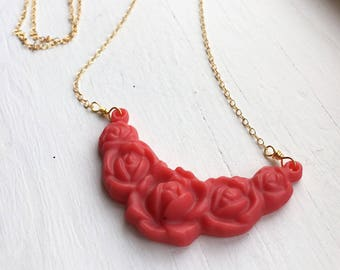Pink Rose Resin Pendant Necklace
