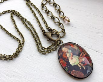 Antique Brass Necklace with Alice in Wonderland Resin Pendant
