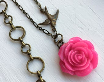 Antique Brass Pink Rose Necklace