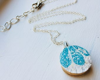 Silver Wine Cork Necklace (Turquoise)