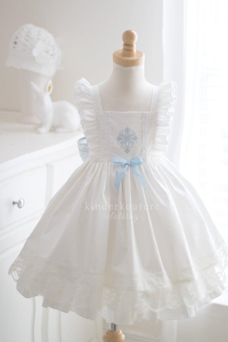 Girls Communion Baptism White Grace Flutter Dress DnGLfAvf