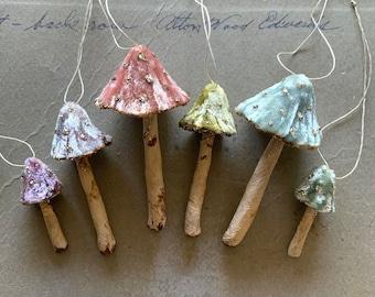 Silk Velvet Mushroom Rainbow - Made to Order Set of 6 Woodland Velvet Toadstool Decorations - Handmade Fairy Mushrooms Terrarium Display