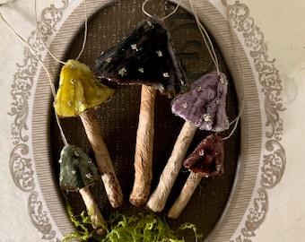 Spooky Forest Velvet Mushroom Ornaments - Haunted Woodland Toadstool Decorations - Tiny Mushroom Decorations Cloche Terrarium Display