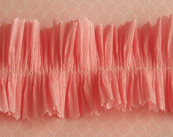 Vintage Crepe Paper Ruffle Trim Peony Pink - Party Wedding Decor - Pink Crepe Paper Trim - Valentine Card Craft Supplies - Pink Baby Shower