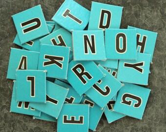 Turquoise Blue Vintage Alphabet Letters - Set of  48 Heavy Cardboard Anagram Tiles - 1-1/8 inch Vintage Scrabble Letters - Scrapbook Collage
