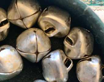 Stunning Matte Silver Bells - 1/2 Inch Primitive Christmas Jingle Bells - Dollhouse Holiday Trim Miniatures  Silver Bells for Decorating