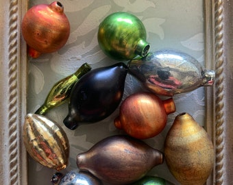 Mercury Glass Ornament Collection - Fall Collection Gorgeous Large Glass Beads - Feather Tree Decorations - Striped Beads