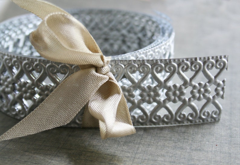Decorative Metal Trim Vintage Style - Embossed Hearts and Flowers Silver  Metal Trim 3 Foot Spool - Stamped Metal Hobby Craft Trim