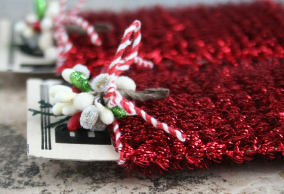 Tiny spiral red tinsel garland for decorating and crafting etsy
