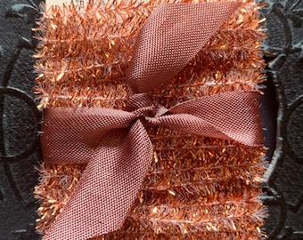 Copper Tinsel Trim - 12 Feet Tiny Metallic Holiday Garland - Christmas Dollhouse Miniature Garland - Holiday Gift Wrap