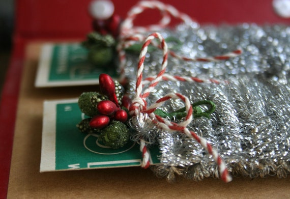 Tiny wired spiral silver tinsel garland for decorating and etsy