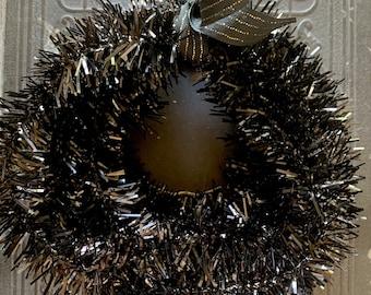 Halloween Black Tinsel Garland - 6 FEET Goth Party Garland - Feather Tree Wired Tinsel Trim - Dark Black Holiday Decorating Supplies