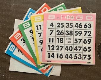 Vintage Pastel Bingo Booklets 12 Bingo Books with 6 Pages Each Junk Journals Scrapbook Pages Vintage Ephemera Numbers