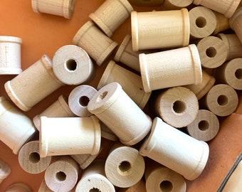 54 Tiny Wood Spools for Display Studio Decorating - Miniature Sewing Thread Trim Spools
