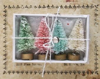 Bottle Brush Trees - Tiny 1-1/2 Inch Christmas Bottle Brush Trees - Pastel Christmas Trees for Decorating - Set of 4 Miniature Doll House