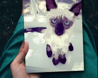Balinese Kitty Cat Art Animal Pet Artwork Painting Kitten Art Drawing