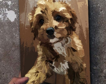Cavalier King Charles Poodle Dog Painting Puppy Artwork Art Adorable