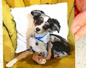 Mini Acrylic Original Puppy Painting Dog Pup Artwork Australian Shepherd Art