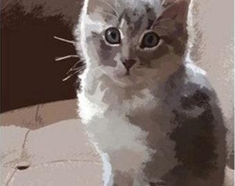 Kitty Cat Art Animal Pet Artwork Painting Kitten Art Drawing