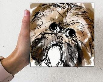 Shih Tzu Dog Water Color Look Puppy Small Artwork Illustration Fun Artwork Art