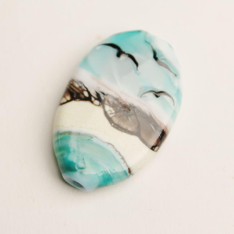 handmade supplies Oregon Coast Beach Bead with birds sra Lampwork Focal landscape like a painting in glass