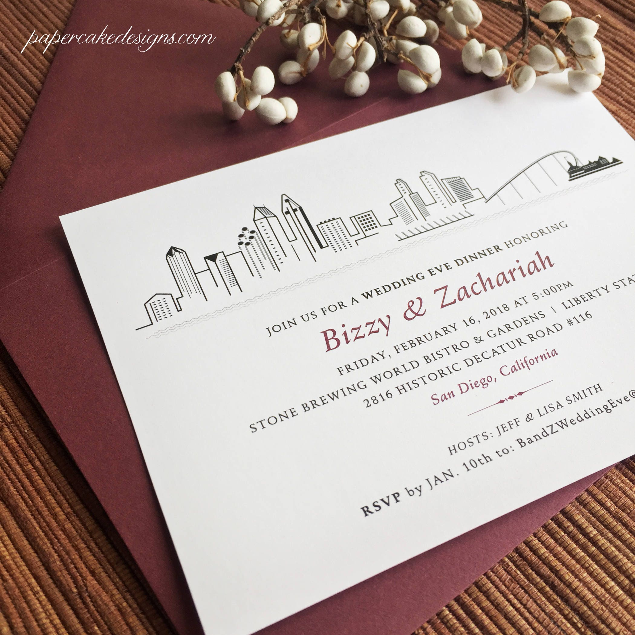 City Skyline Invite / Wedding Rehearsal Dinner Welcome Party | Etsy
