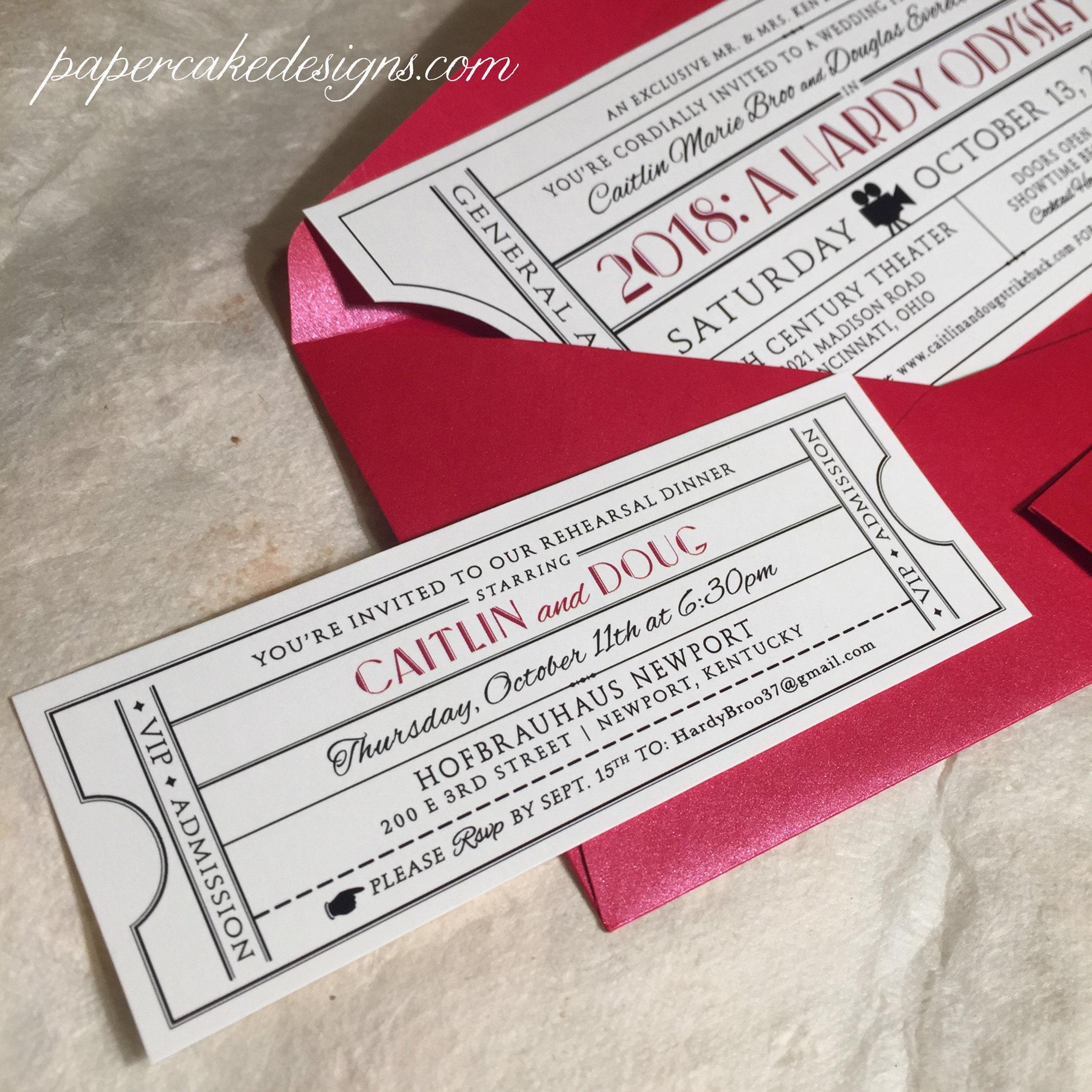 Wedding Rehearsal Dinner Invite Ticket / Reception Anniversary | Etsy
