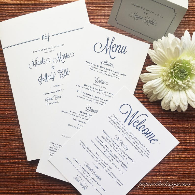 Wedding Day Reception Stationery / Table Decor / Welcome Welcome-sample