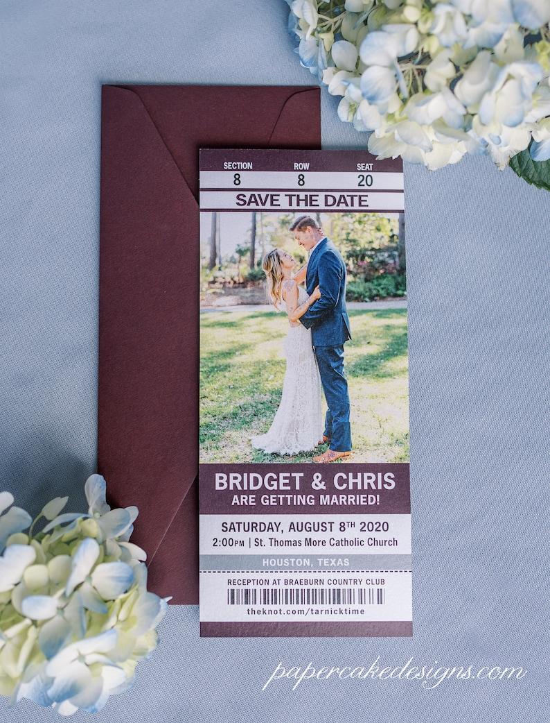 Sport Ticket Wedding Save the Date or Invitation / Custom image 0