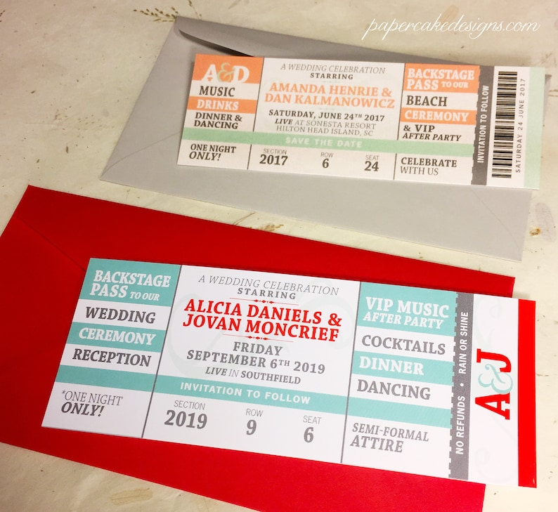 Concert Ticket Save The Date / Wedding Birthday Bridal Shower SMALL 5.5x2 inches