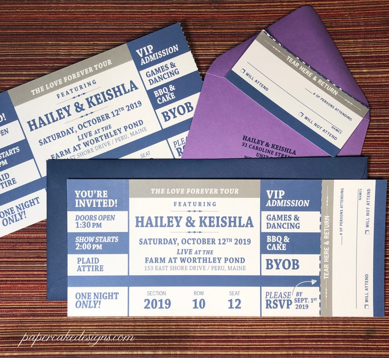Concert Ticket Invitation with RSVP tear-off stub / Wedding image 0